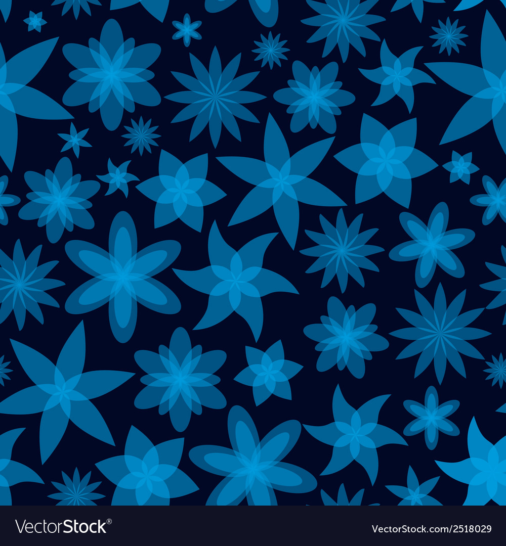 Abstract flowers blue seamless pattern eps10 vector | Price: 1 Credit (USD $1)