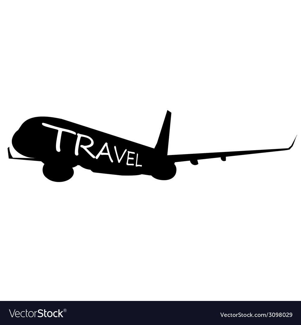 Airplane with travel word on it vector | Price: 1 Credit (USD $1)