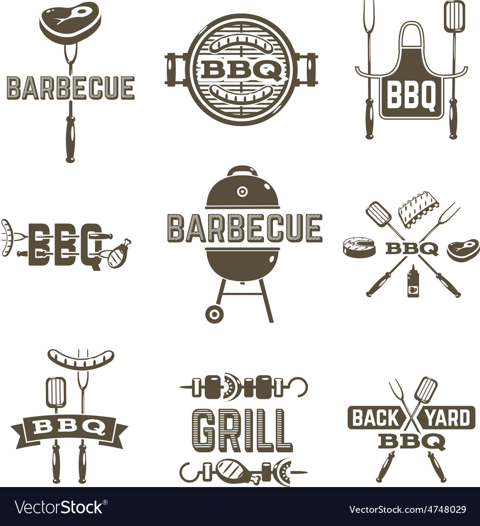 Barbecue and grill labels vector | Price: 1 Credit (USD $1)