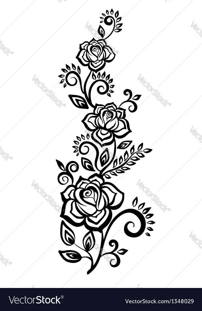 Black-and-white flowers and leaves vector | Price: 1 Credit (USD $1)