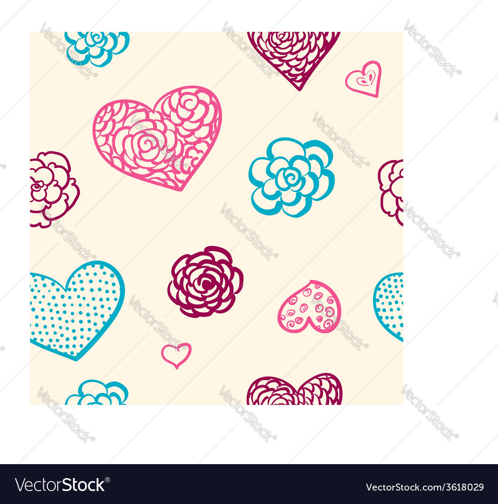 Doodle seamless pattern of hearts vector | Price: 1 Credit (USD $1)