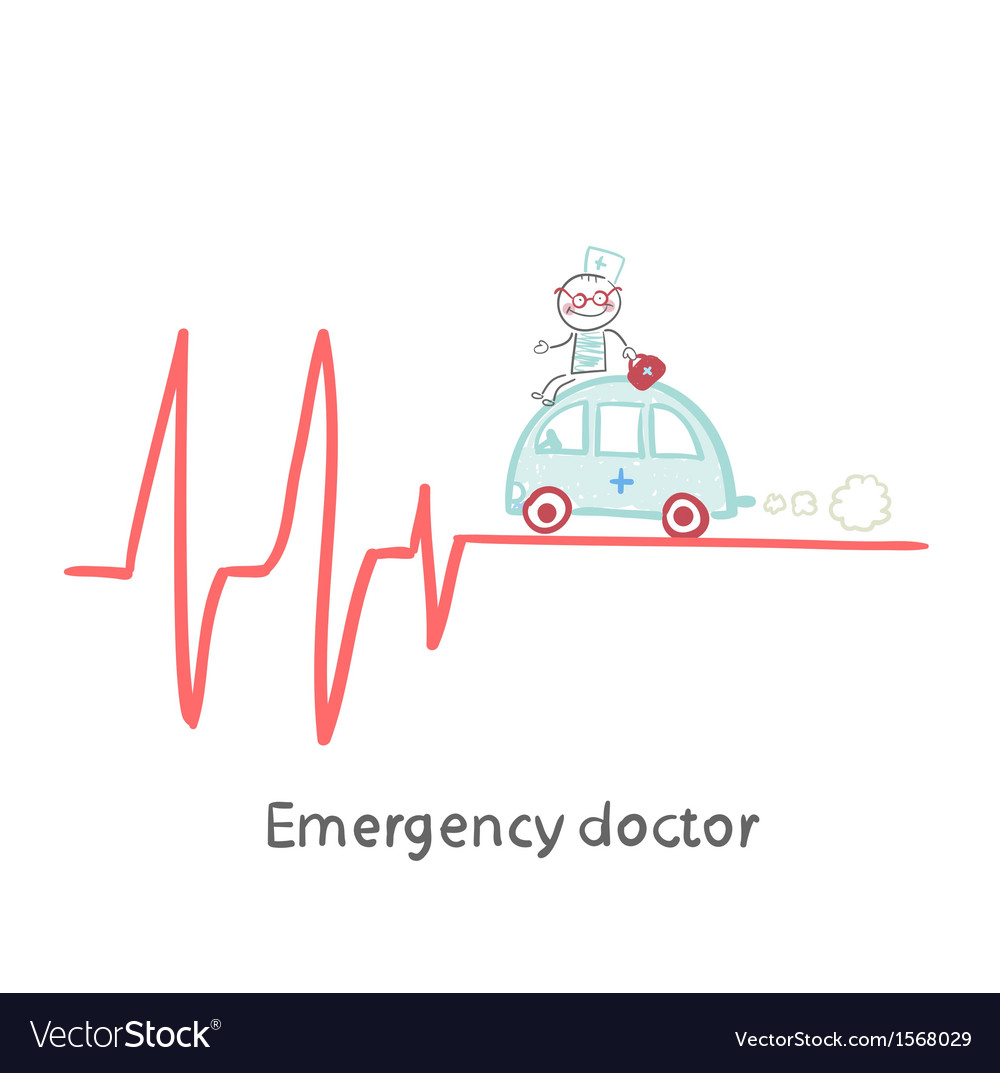 Emergency doctor traveling by car on ecg vector | Price: 1 Credit (USD $1)