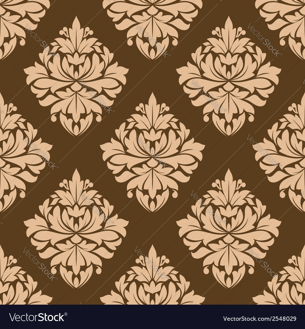 Floral seamless brown arabesque pattern vector | Price: 1 Credit (USD $1)