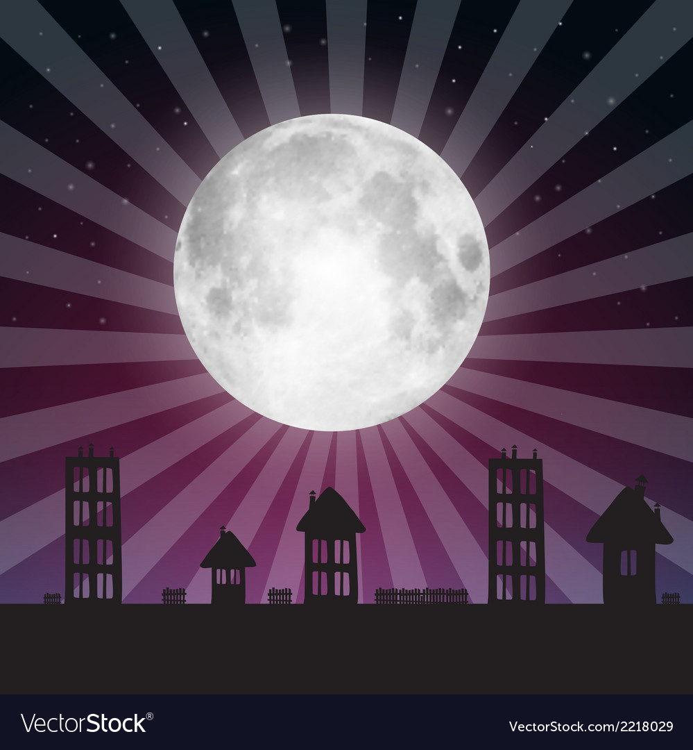 Full moon with stars above city vector | Price: 1 Credit (USD $1)