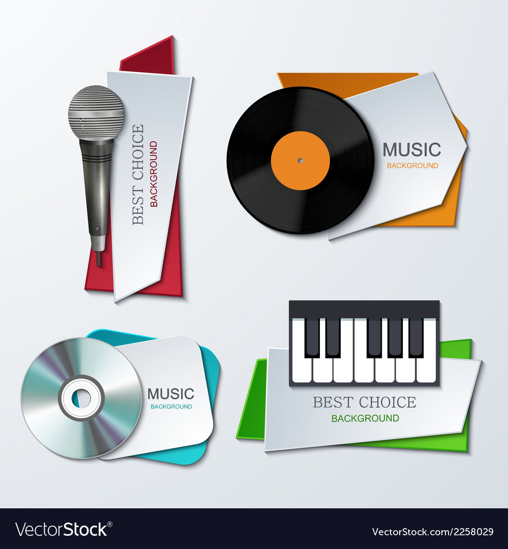 Modern music banners set vector | Price: 1 Credit (USD $1)