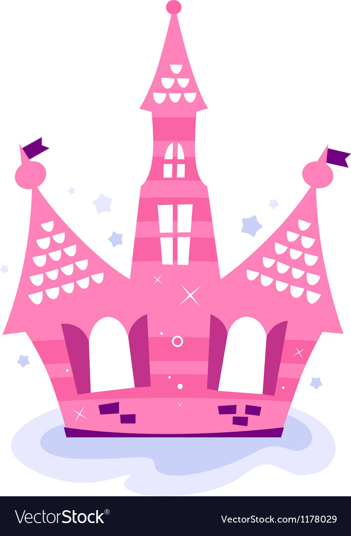 Pink princess sky castle vector | Price: 1 Credit (USD $1)