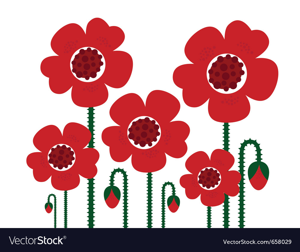 Red poppy flowers isolated on white - retro vector | Price: 1 Credit (USD $1)