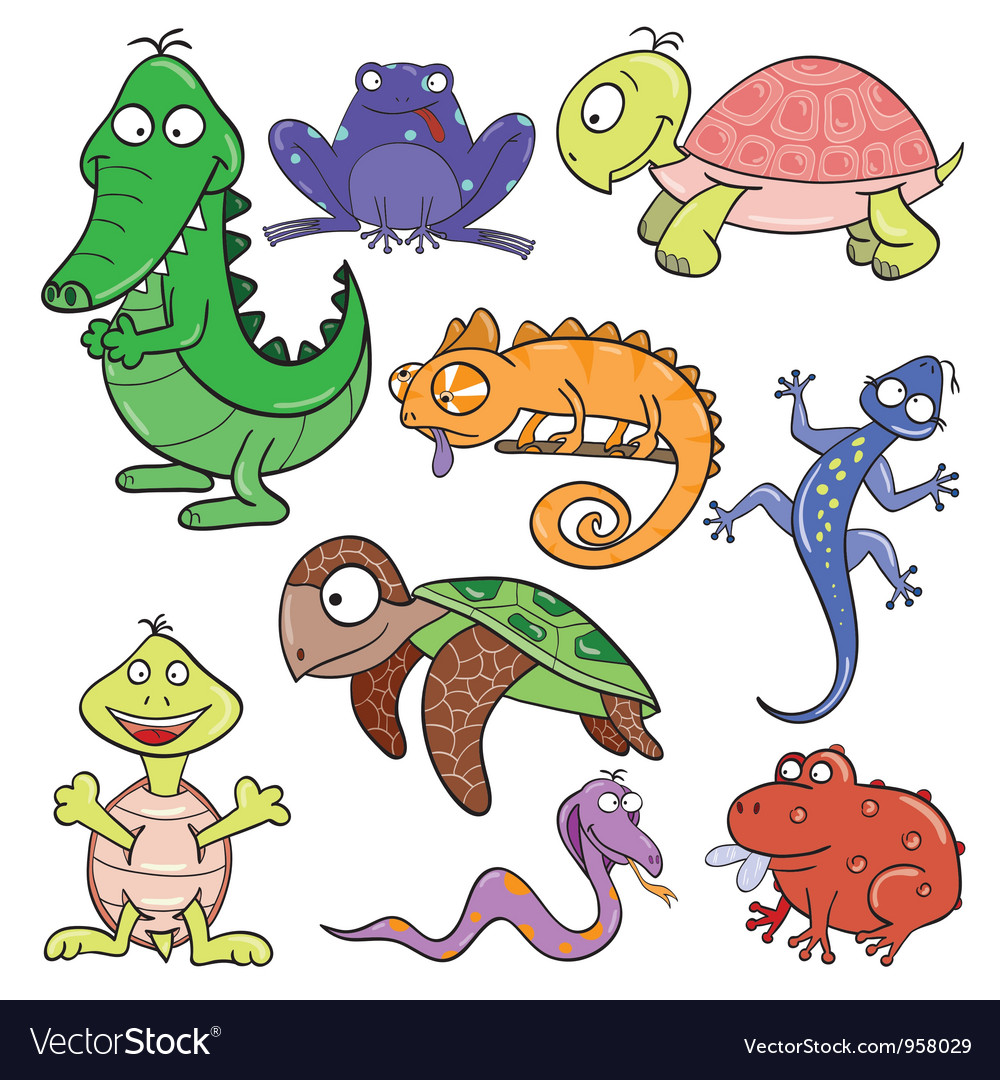 Reptiles and amphibians doodle icon set vector | Price: 1 Credit (USD $1)