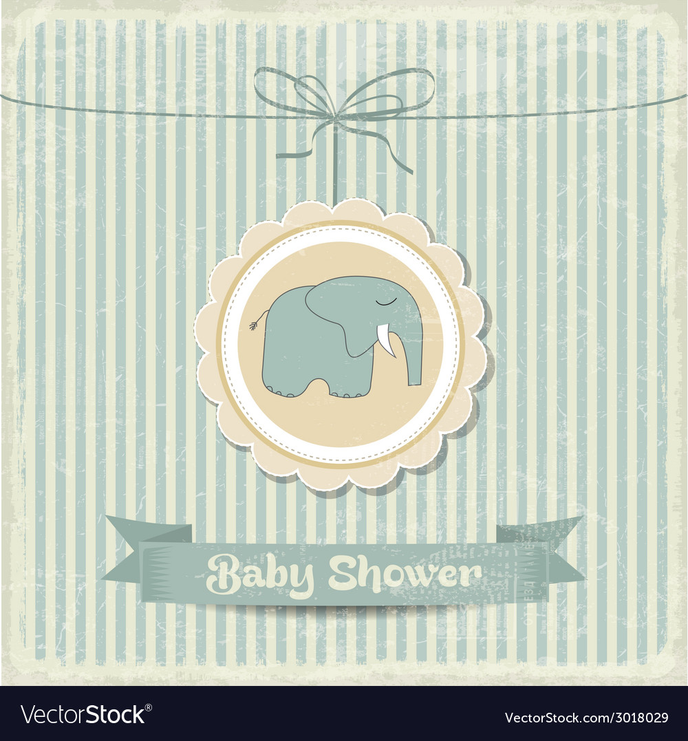 Retro baby shower card with little elephant vector | Price: 1 Credit (USD $1)
