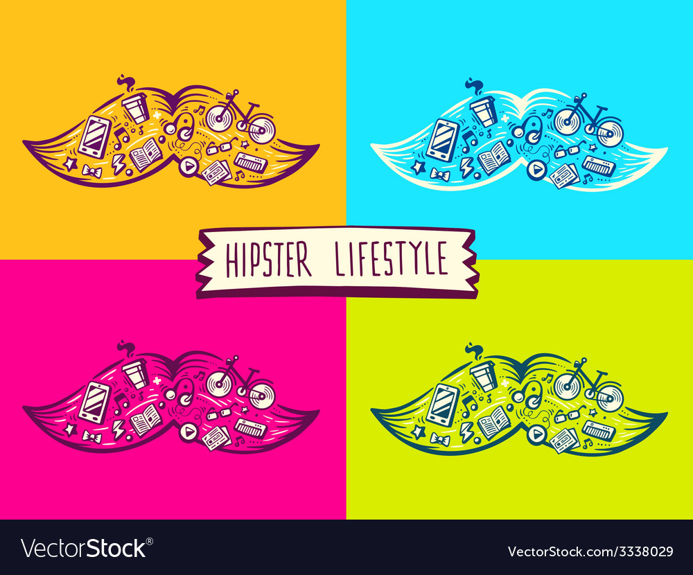Set big mustache of hipster life style wi vector | Price: 3 Credit (USD $3)