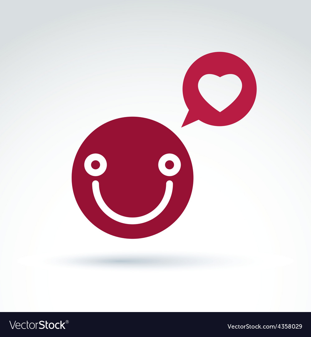 Smiling happy person in love red speech bubble vector | Price: 1 Credit (USD $1)