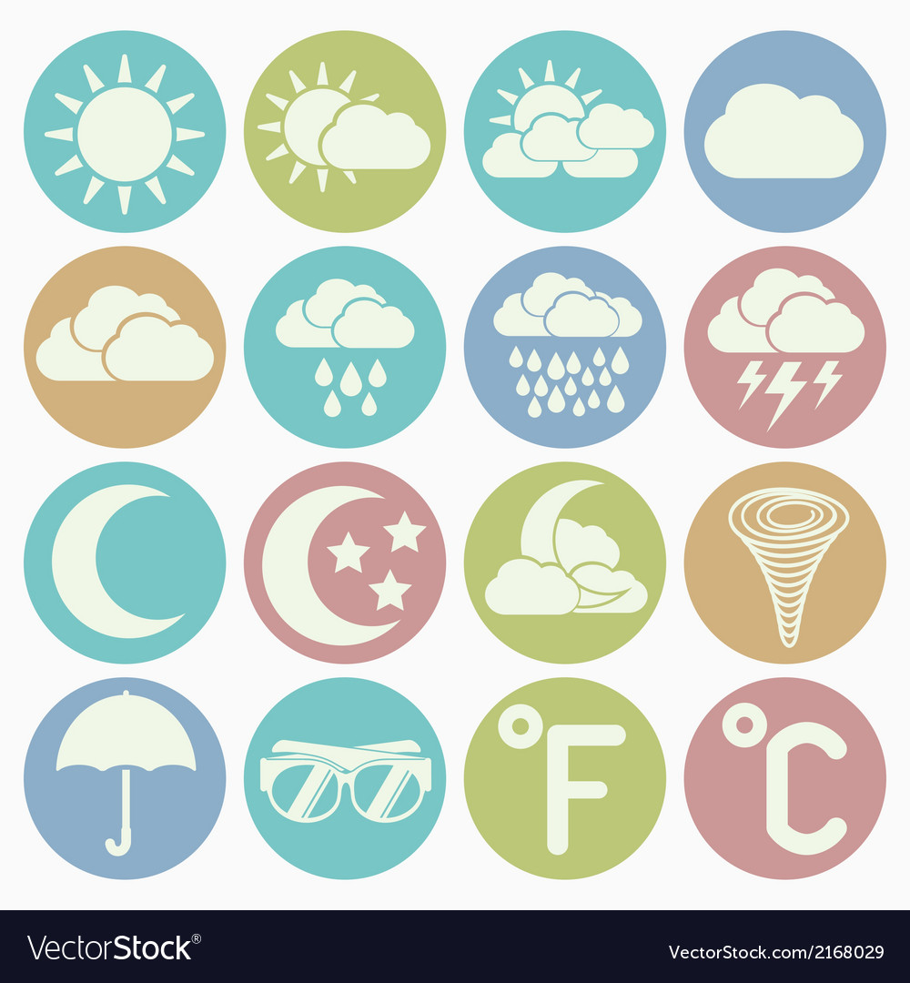 White icons weather vector | Price: 1 Credit (USD $1)