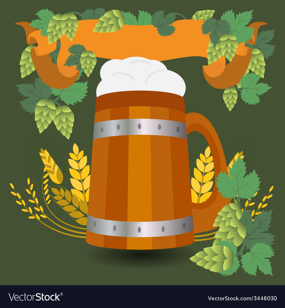 Barrel mug with wheat and hops vector | Price: 1 Credit (USD $1)
