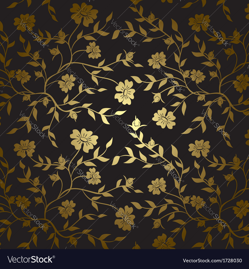Black and gold floral texture for background vector   Price: 1 Credit (USD $1)