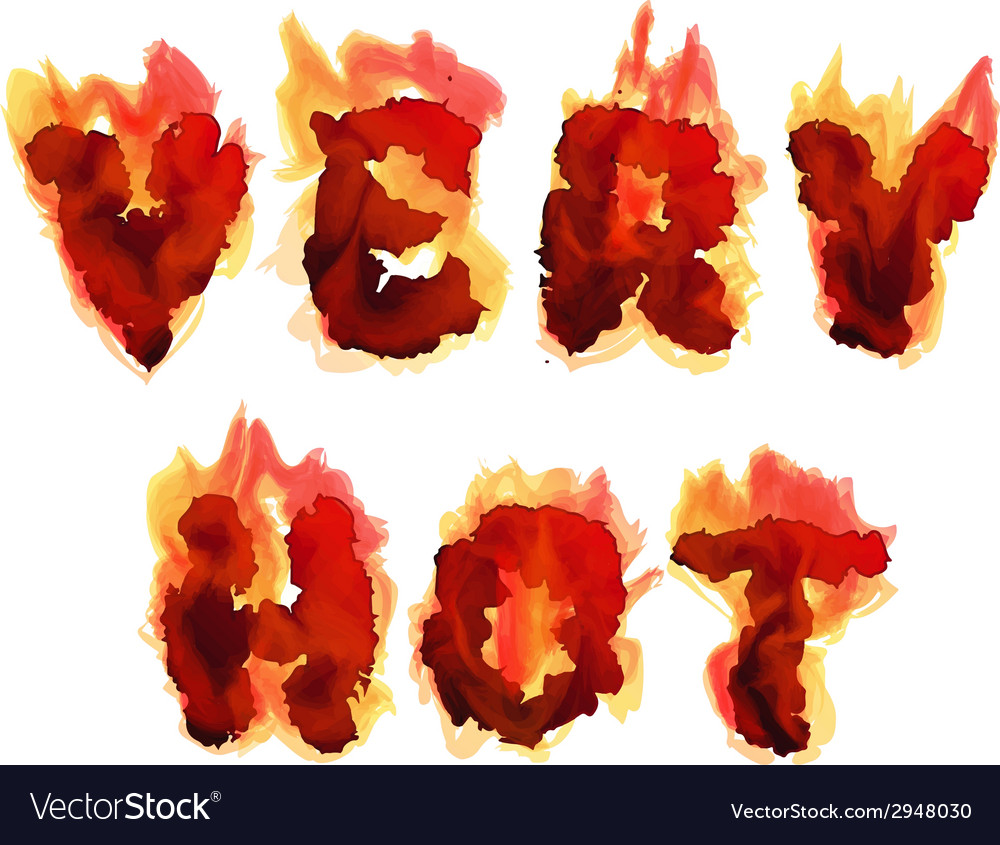 Burning inscription very hot vector | Price: 1 Credit (USD $1)