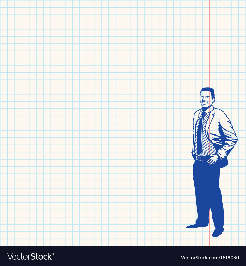 Businessman on grid paper vector | Price: 1 Credit (USD $1)