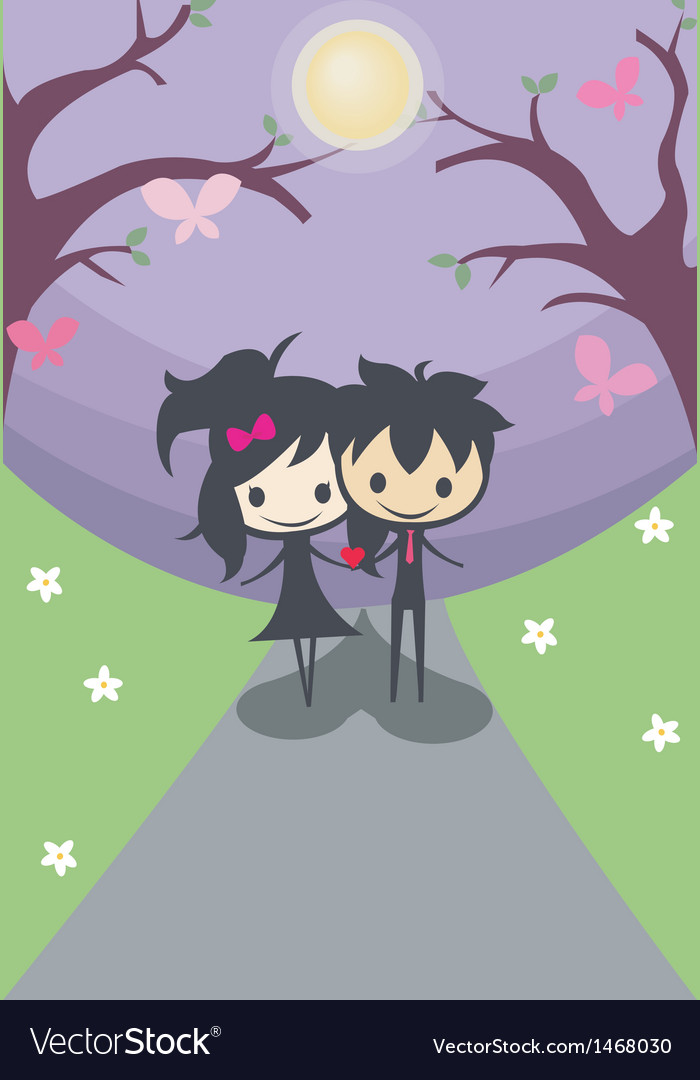 Cute happy couple they are not alone from now on vector | Price: 1 Credit (USD $1)
