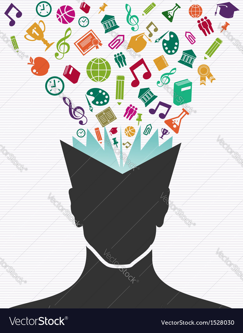 Education colorful icons human head book vector | Price: 1 Credit (USD $1)