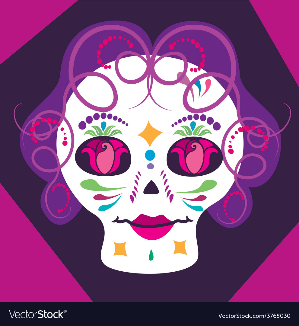 Girl skulll with flowers 2 vector | Price: 1 Credit (USD $1)