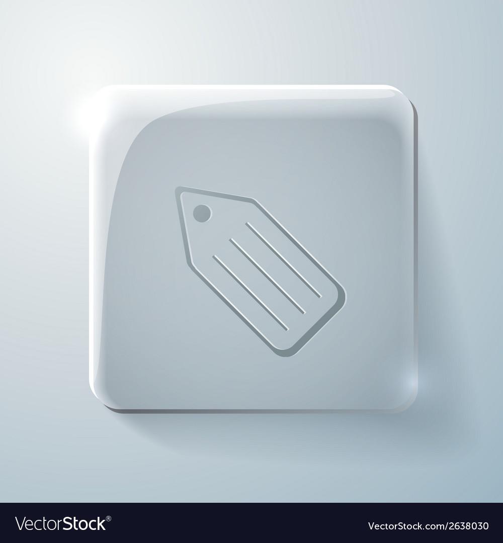 Glass square icon label vector | Price: 1 Credit (USD $1)