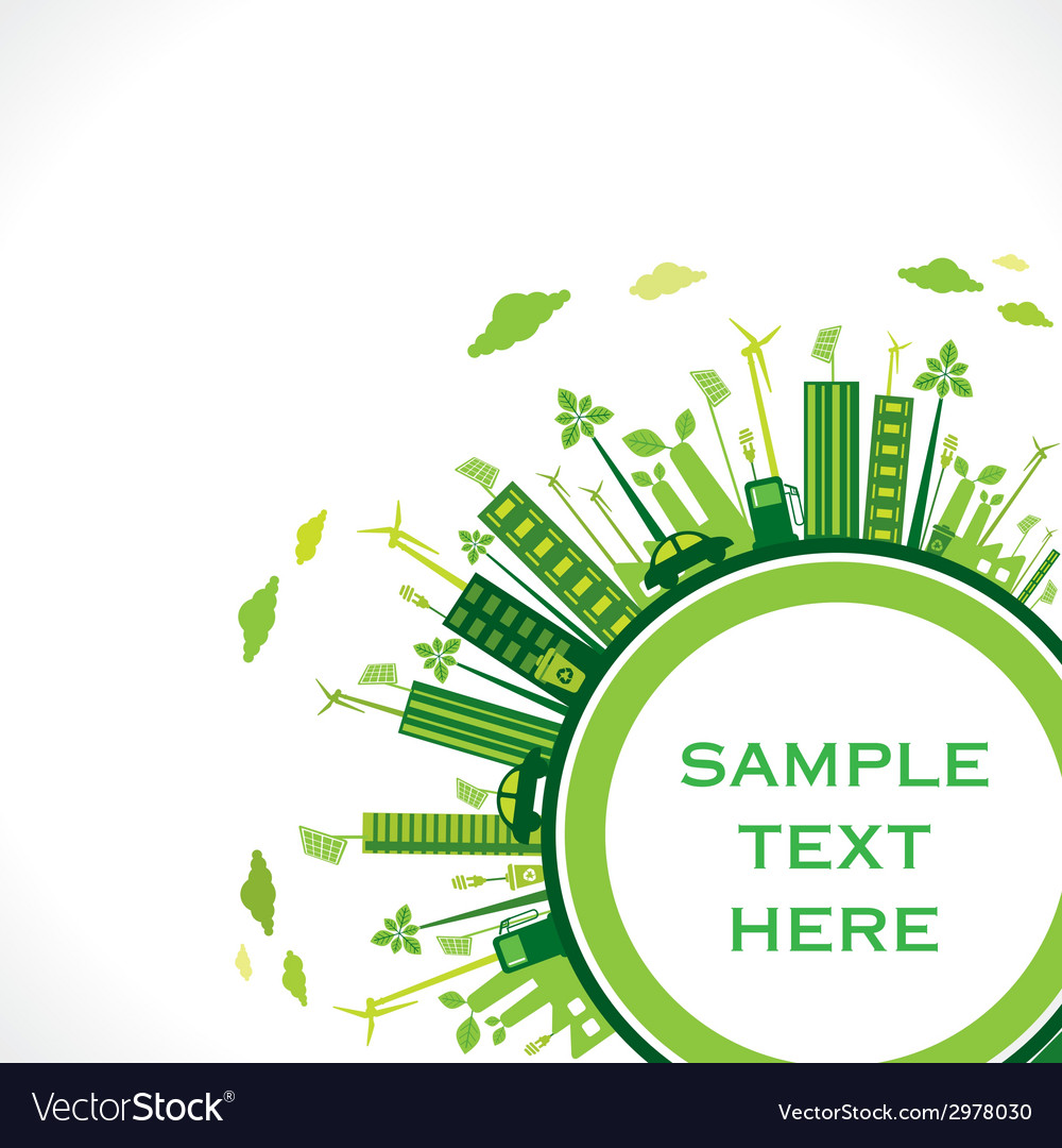 Go green earth or green city save earth concept vector | Price: 1 Credit (USD $1)