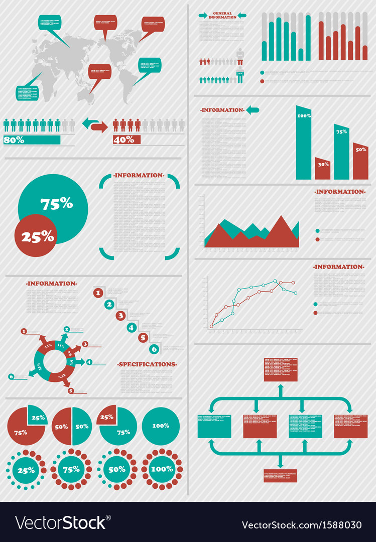 Infographic demographics 5 red vector | Price: 1 Credit (USD $1)