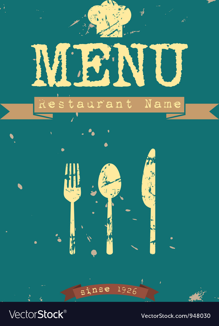Restaurant menu retro style design vector | Price: 1 Credit (USD $1)