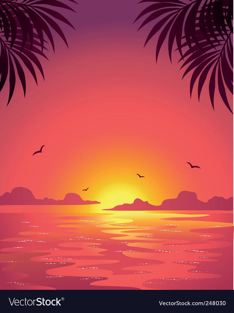 Sea sunset vector   Price: 1 Credit (USD $1)