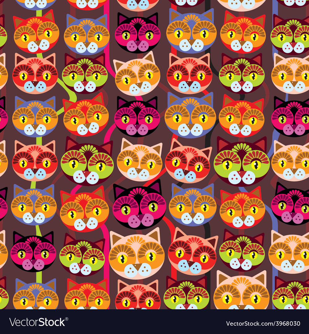 Seamless background with muzzle of cats on brown vector | Price: 1 Credit (USD $1)