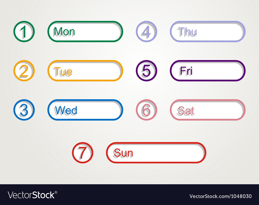 Week planner vector | Price: 1 Credit (USD $1)