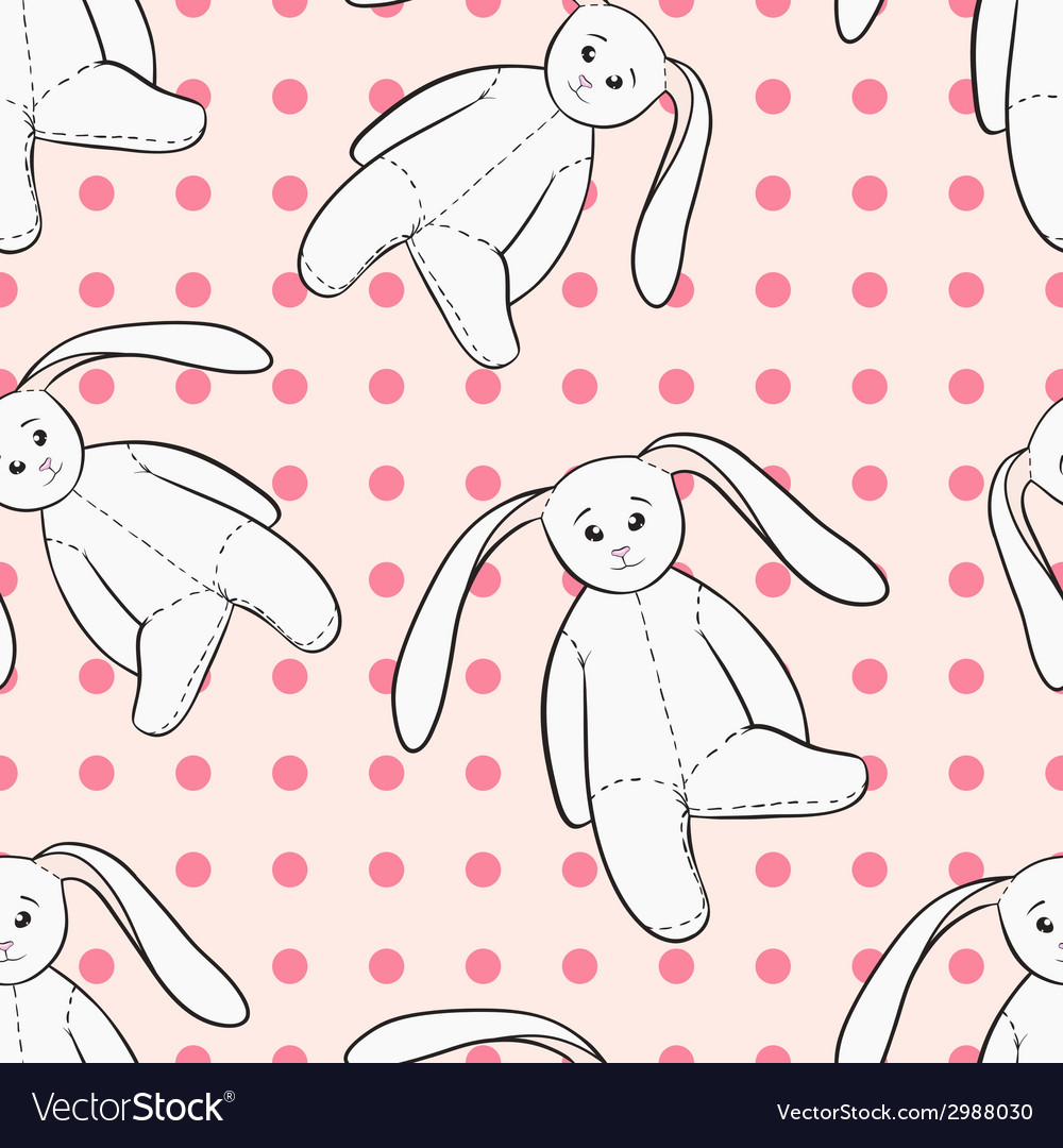 White bunnies toys childish seamless pattern vector | Price: 1 Credit (USD $1)