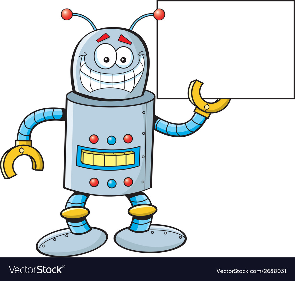 Cartoon robot with a sign vector | Price: 1 Credit (USD $1)