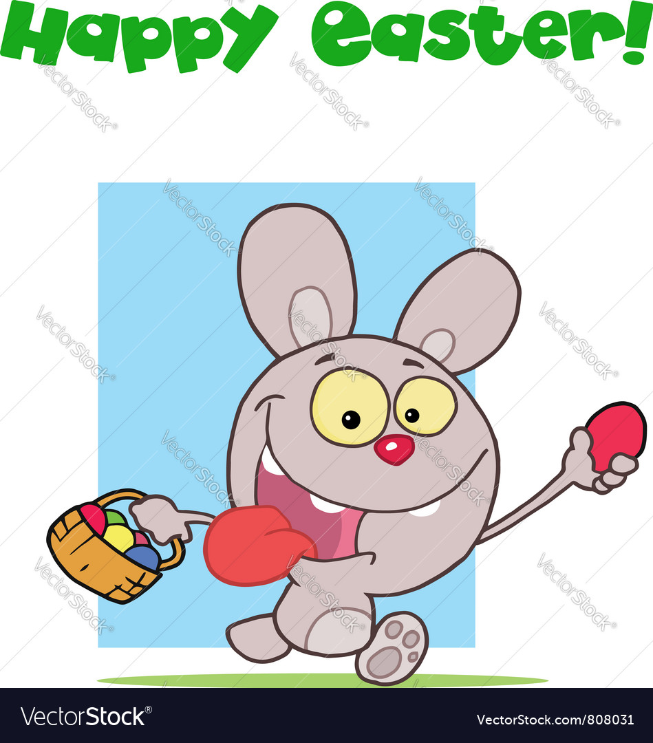 Easter greeting above a rabbit running with eggs vector | Price: 1 Credit (USD $1)