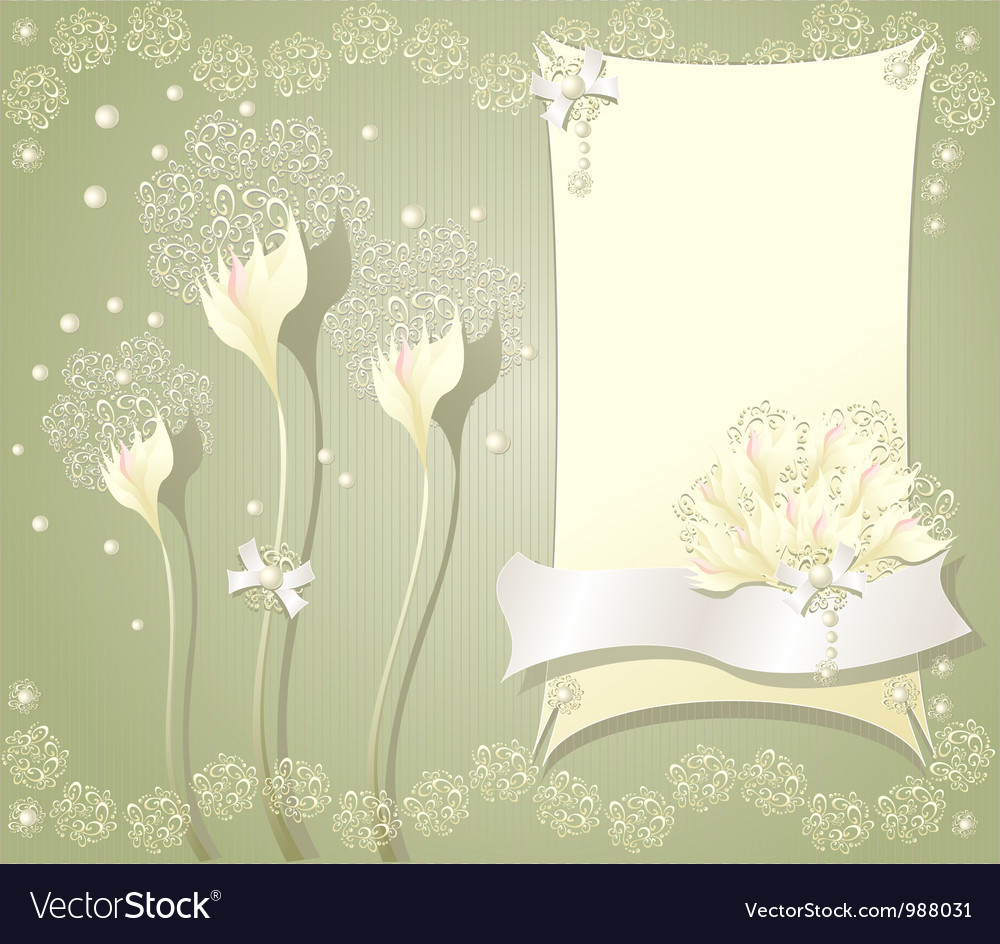 Elegant floral background with frame flowers bows vector | Price: 1 Credit (USD $1)