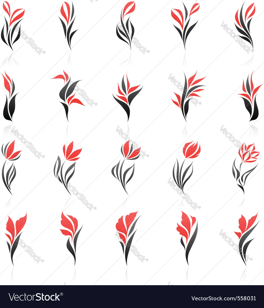 Flowers logo template set vector | Price: 1 Credit (USD $1)