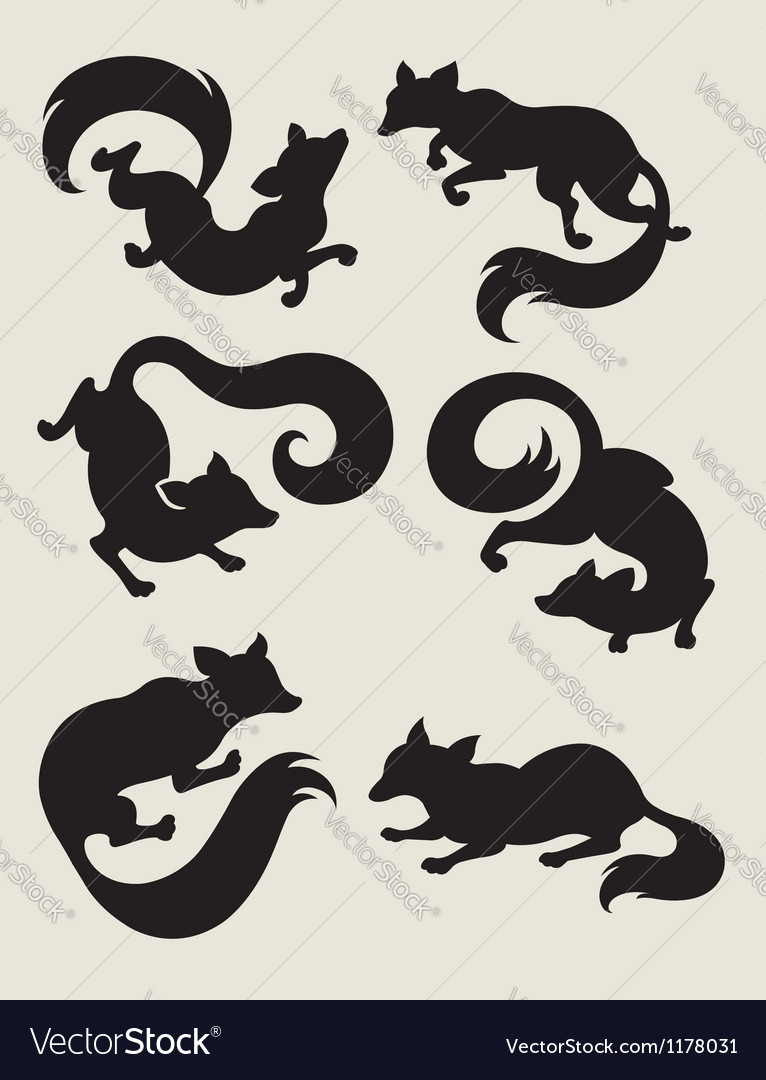 Fox silhouette symbols vector | Price: 1 Credit (USD $1)