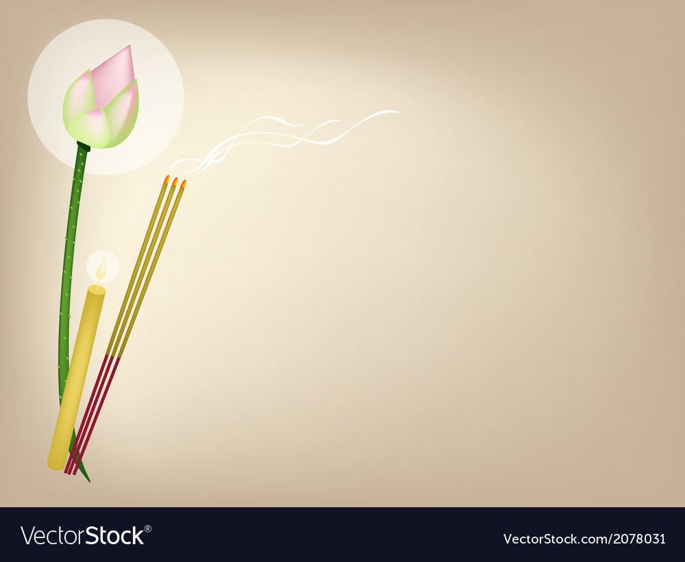Lotus with joss sticks and candle on brown vector | Price: 1 Credit (USD $1)