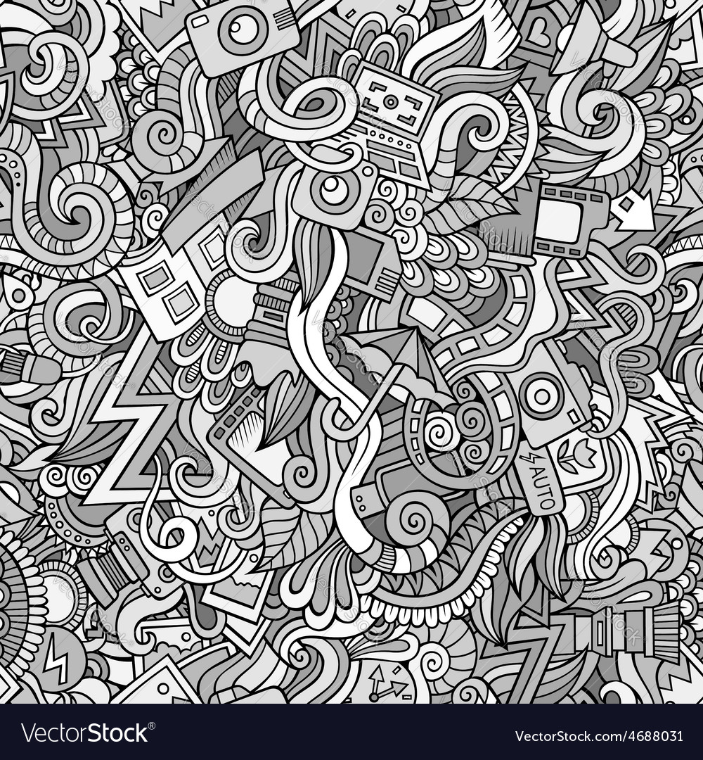 Photography doodles cartoon seamless pattern vector | Price: 1 Credit (USD $1)