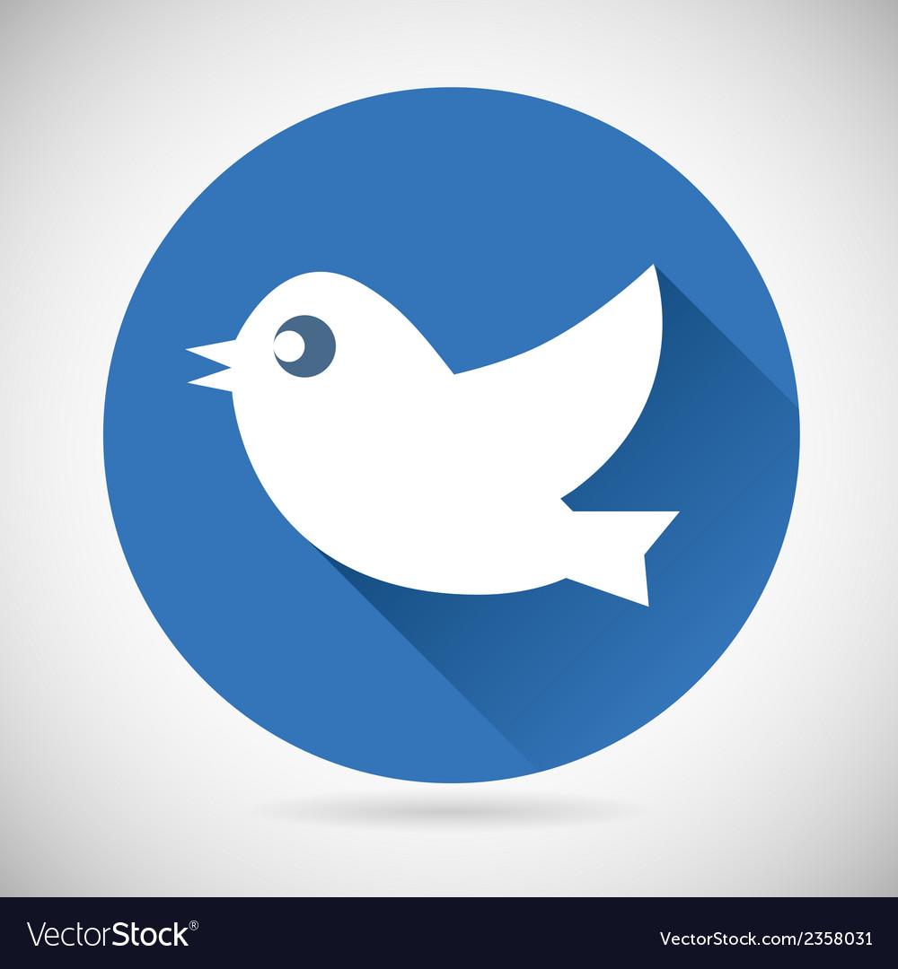 Round blue social media web or internet icon bird vector | Price: 1 Credit (USD $1)