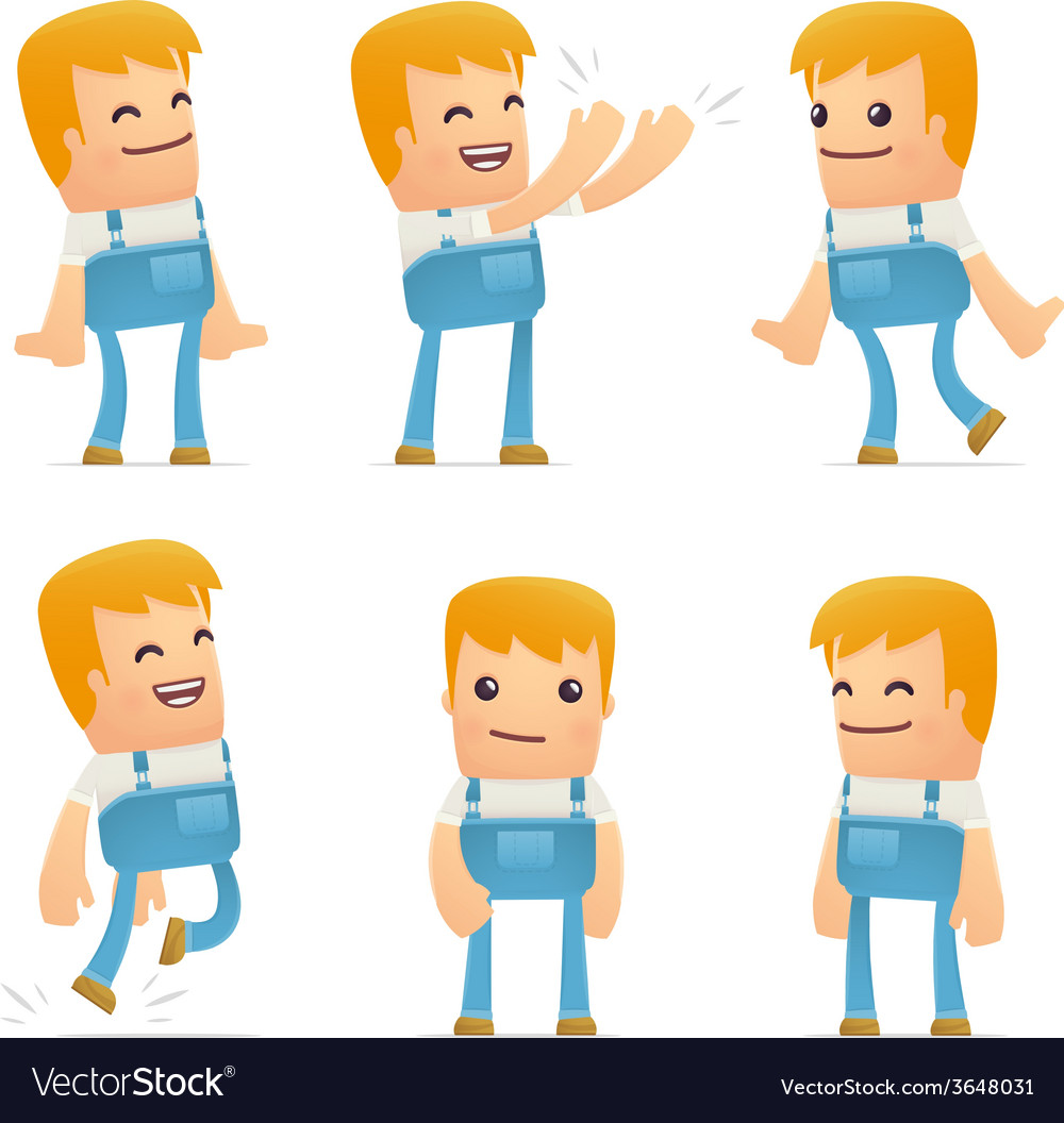 Set of mechanic character in different poses vector | Price: 1 Credit (USD $1)