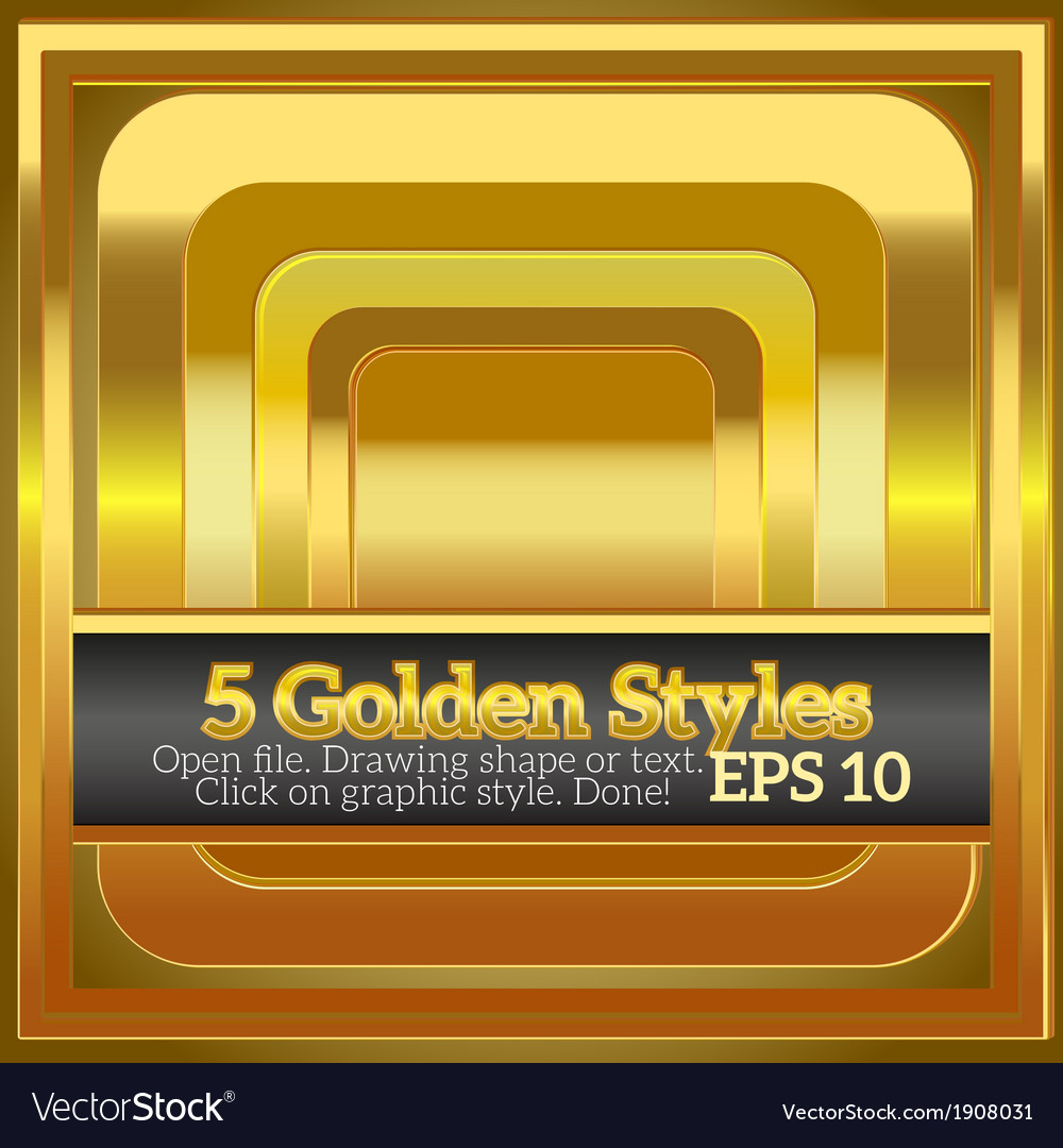 Set of rich shiny golden styles for design vector | Price: 1 Credit (USD $1)