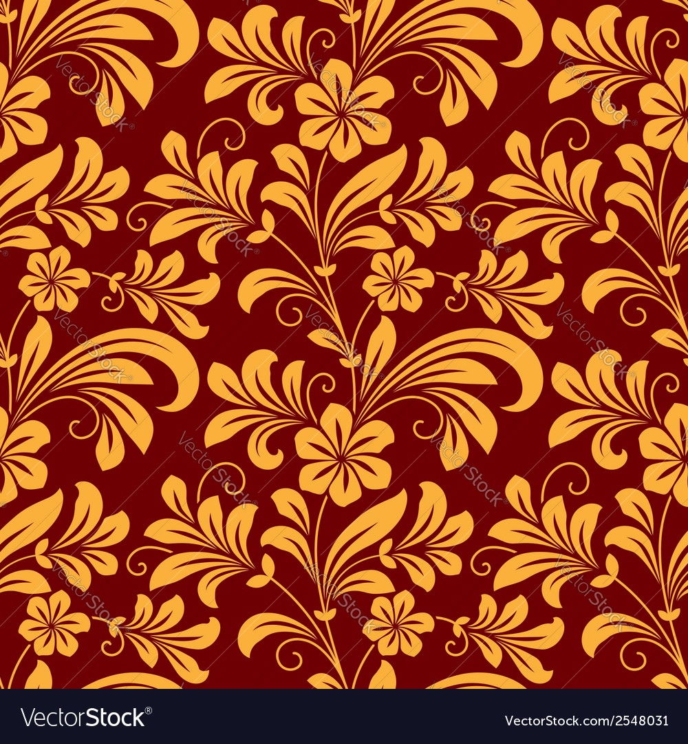 Yellow colored floral seamless pattern vector | Price: 1 Credit (USD $1)