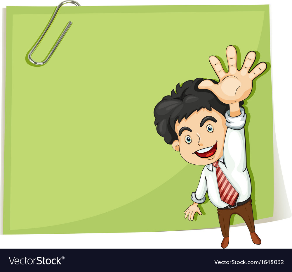 A man making a hand signal in front of the big vector | Price: 1 Credit (USD $1)