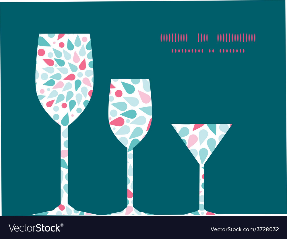 Abstract colorful drops three wine glasses vector   Price: 1 Credit (USD $1)