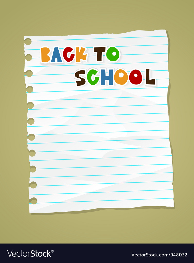 Back to school on wrinkled lined paper eps 10 vector | Price: 1 Credit (USD $1)