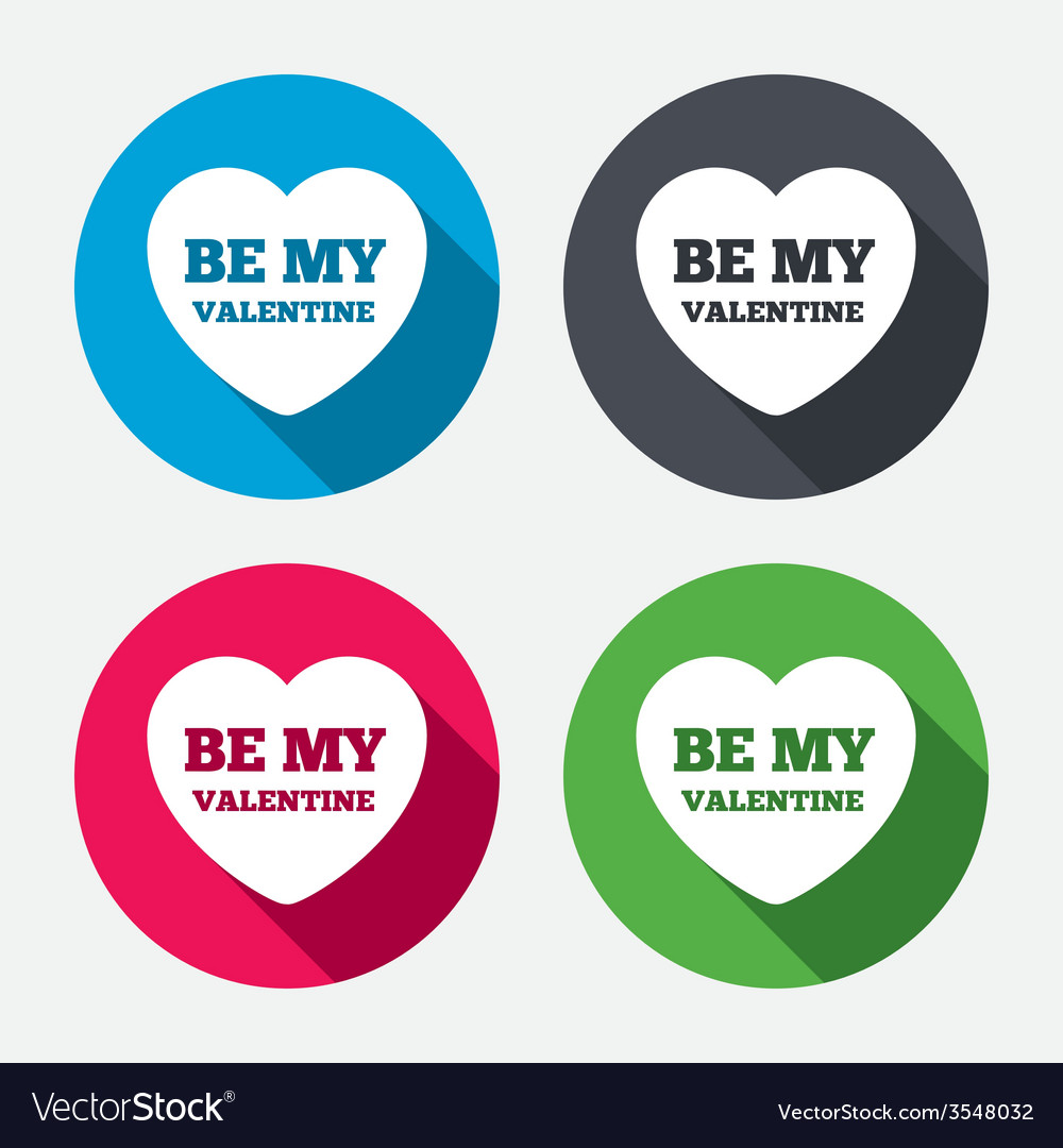 Be my valentine sign icon heart love symbol vector | Price: 1 Credit (USD $1)