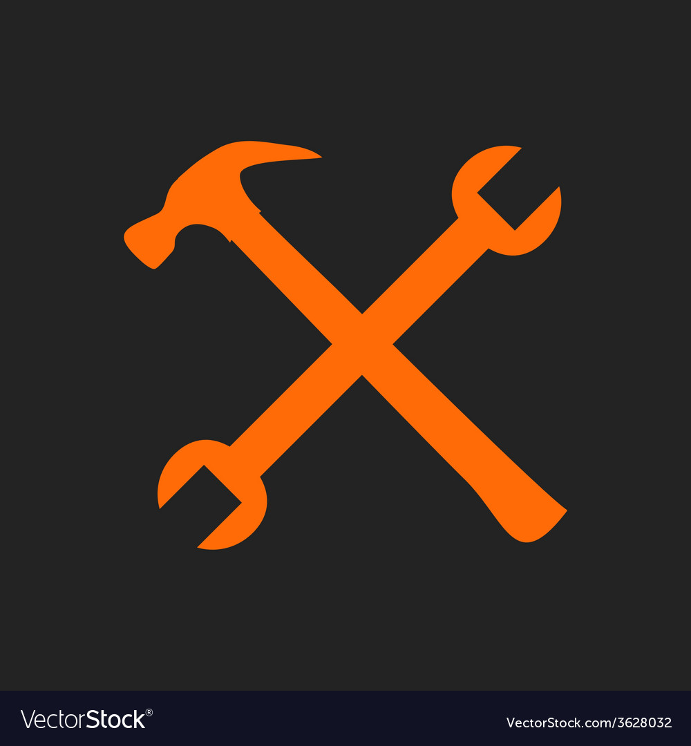 Crossed orange tools on black vector | Price: 1 Credit (USD $1)