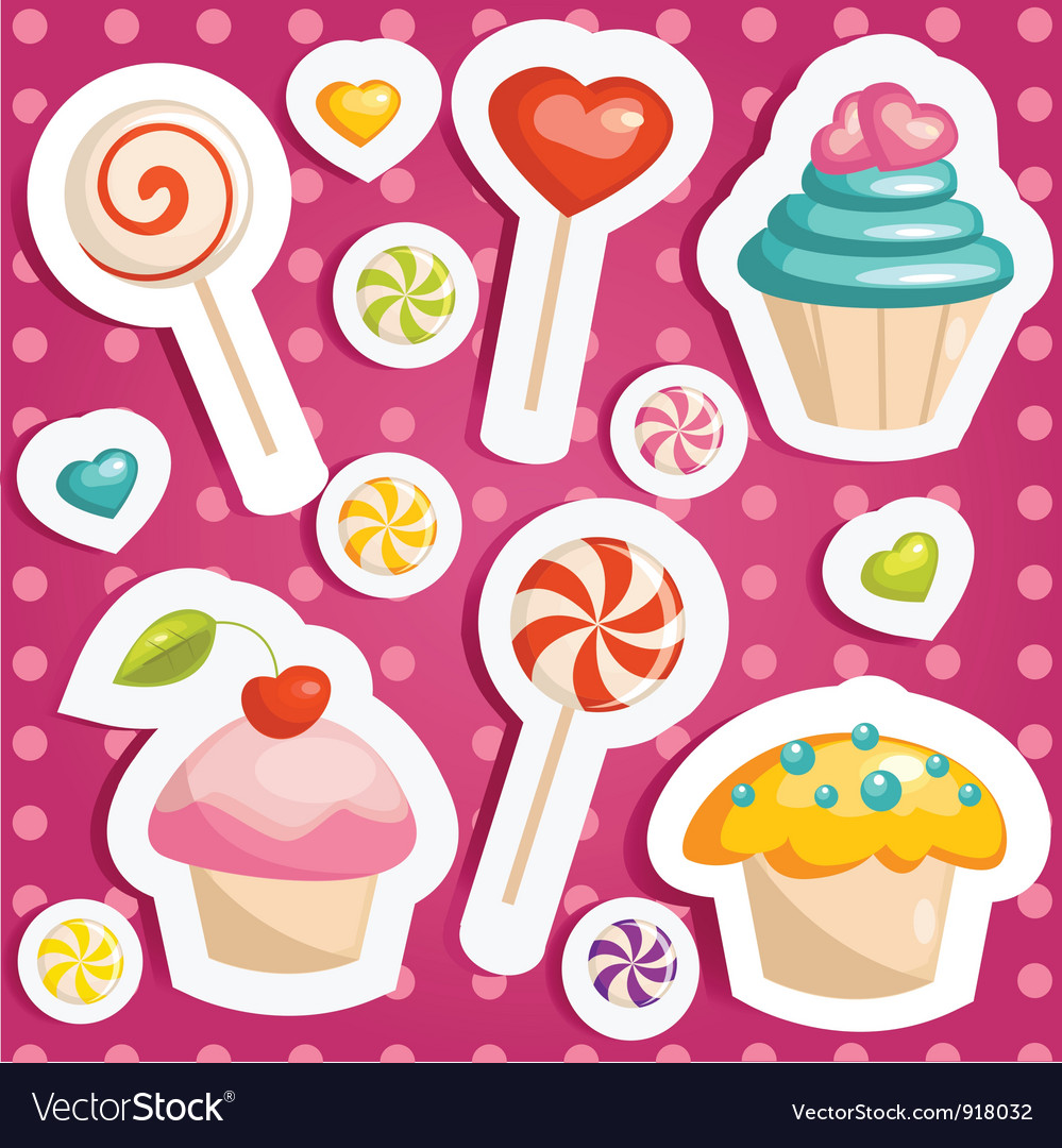 Cute candy stickers vector | Price: 1 Credit (USD $1)