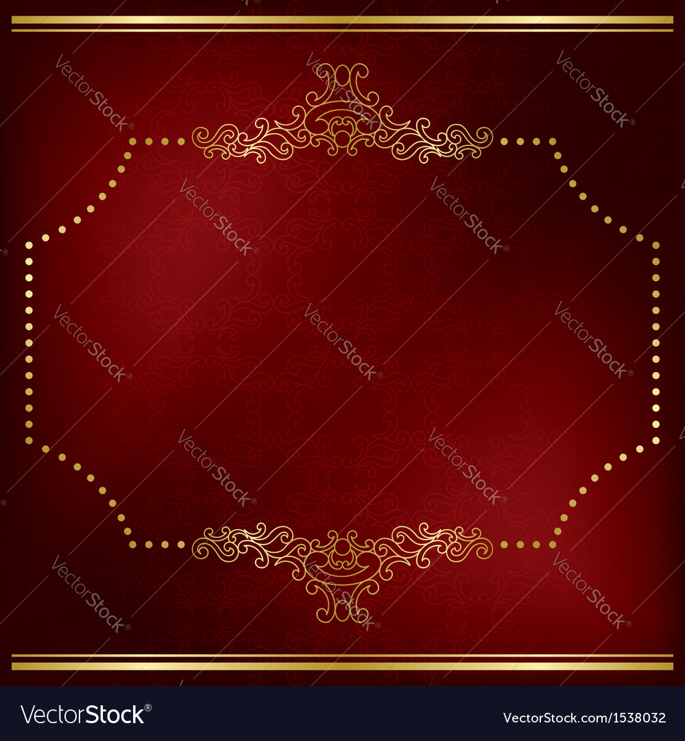 Dark red card with gold decor vector | Price: 1 Credit (USD $1)