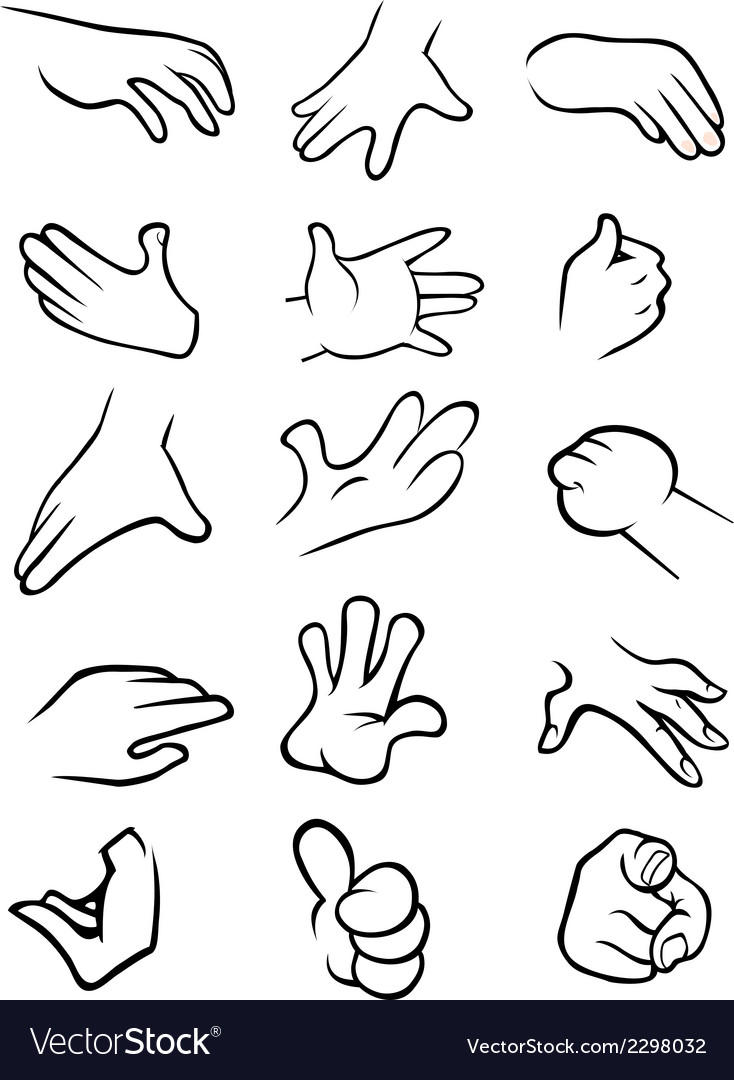 Hands collection outline vector